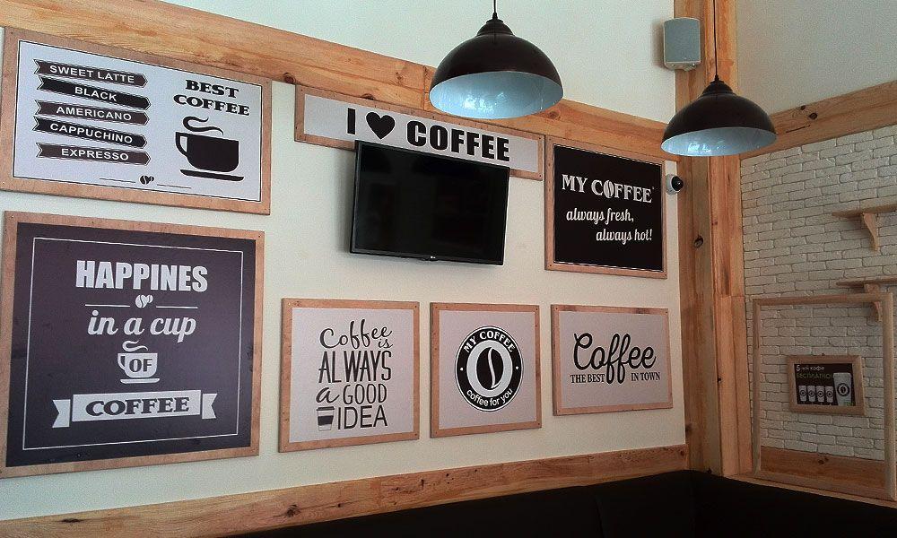 Деревянные таблички кофейни