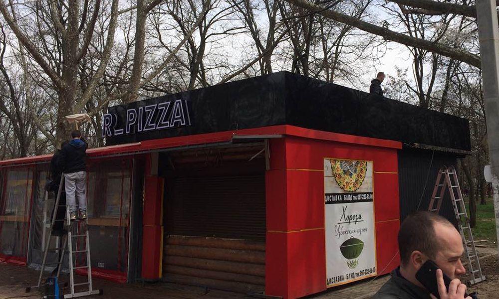 Монтаж вывески Burger Pizza